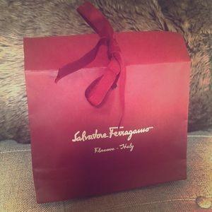Salvatore Ferragamo empty small gift bag w/ribbon
